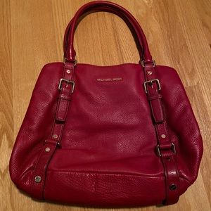 MICHAEL KORS Red Leather Handbag with Gold Detail